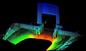 An above and below water laser scanning image of Brazos river lock in the USA, using sonar and above water 3D LiDAR data