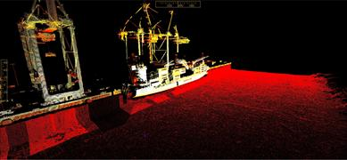 A harbour suvey with Maersk vessel unloading showing above water LiDAR and below water sonar data using a 4D laser scanning vessel